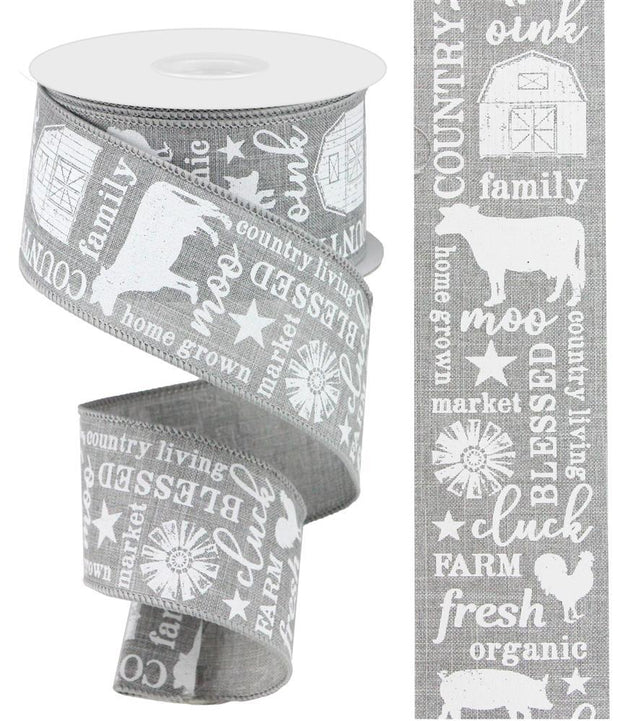 2.5in x 10yd - Grey-White Country Living Ribbon