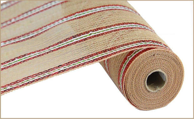 10in x 10yd - Natural Red Lime White Jute Foil Mesh