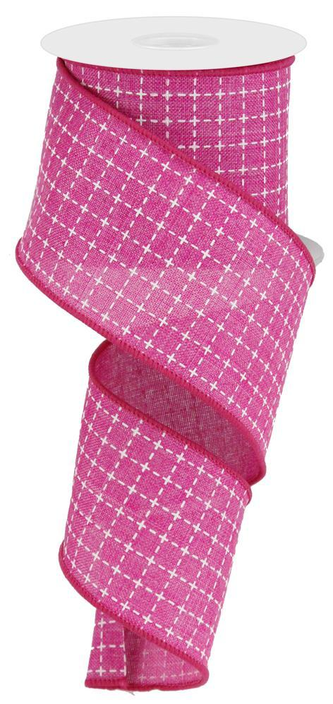 2.5in x 10yd - Hot Pink Raised Stitched Squares Ribbon