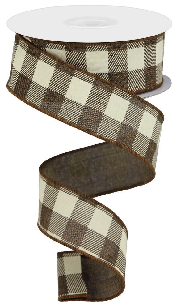 1.5in. x 10yd Brown Ivory Striped Check On Royal
