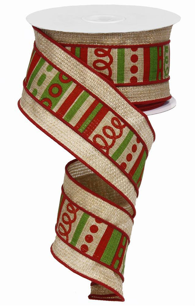 2.5in x 10yd - Light Beige Red Green Loopy Stripes With Cross Ribbon