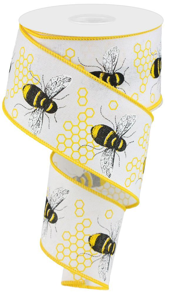 2.5in x 10yd - White Yellow Black Honey Bee on Royal Ribbon