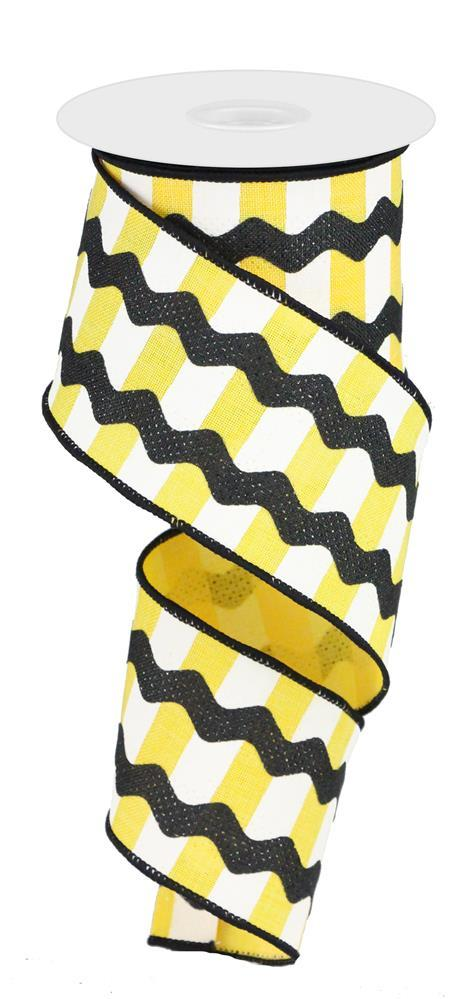 2.5in x 10yd - Yellow White Black Fancy RicRac on Stripes Ribbon