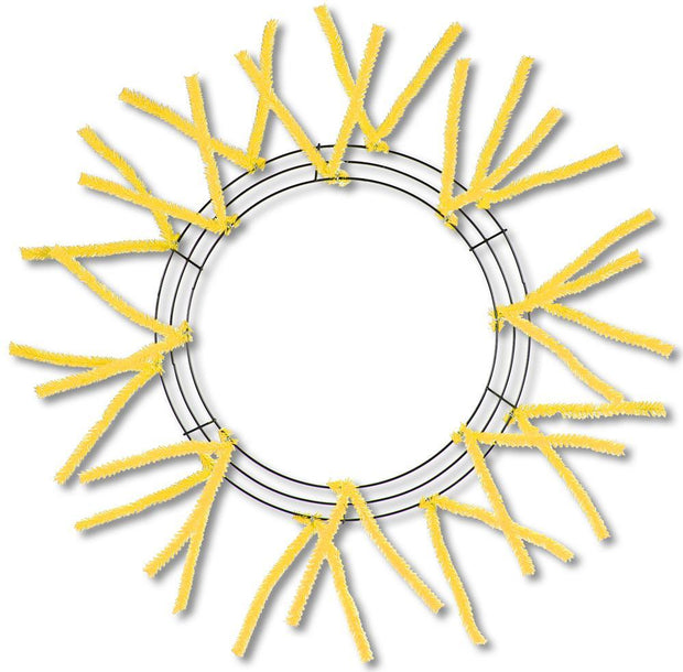 "15""Wire,25""Oad- Yellow Pencil Work Wreath"