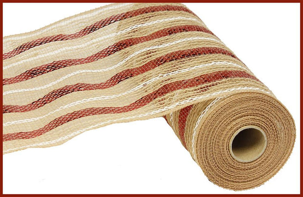 10in x 10yd - Natural Red White Poly Jute Metallic Mesh