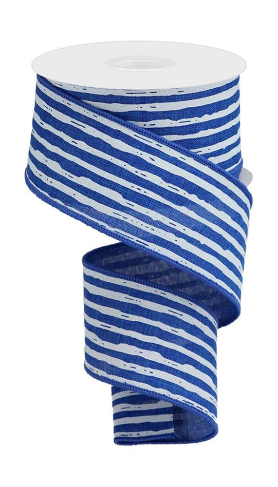 "2.5""X10yd Irregular Stripes On Royal - Royal Blue/White"