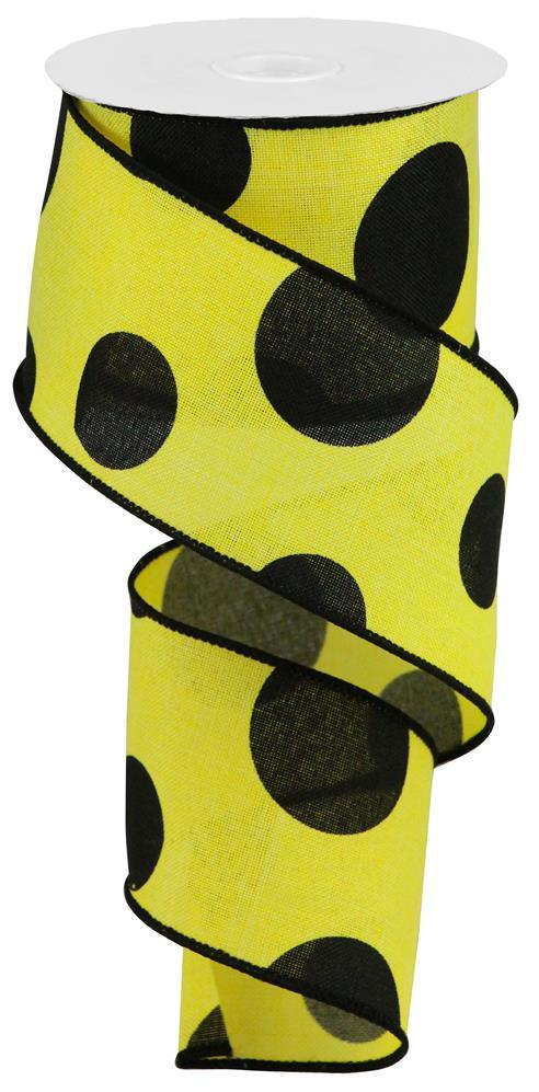 2.5in x 10yd - Yellow Black Large Polka Dot on Royal Ribbon
