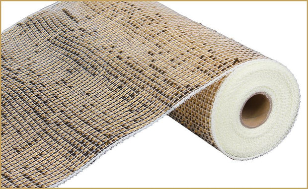 "10""x10yd Deluxe Wide Foil Mesh - Cream/Gold"