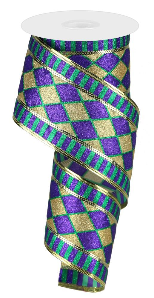 "2.5""x10yd Glitter Harlequin Stripe - Purple/Gold/Green"