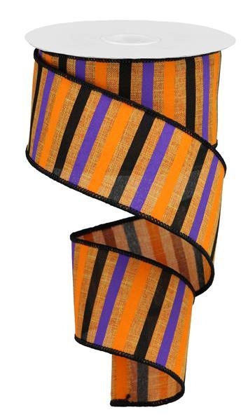 "2.5""x10yd Horizontal Stripe on Royal - Talisman/Orange/Purple/Black"