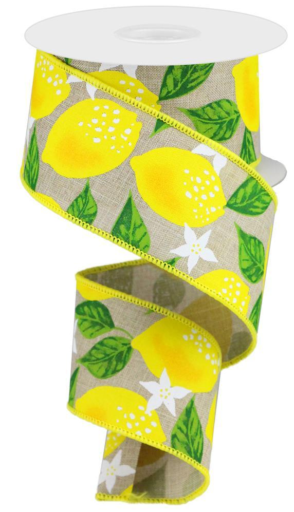 2.5in x 10yd - Lemons on Royal - Natural/Yellow/Green