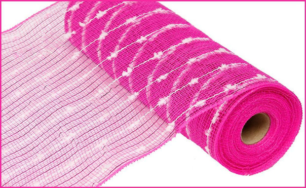 10in x 10yd - Pink White Cotton Ball Poly Jute Mesh
