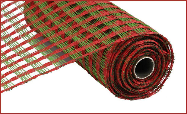 "10""x10yd Poly Burlap Check Mesh - Green/Red"