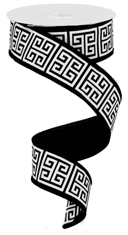1.5in x 10yd - Black White Greek Keys Ribbon