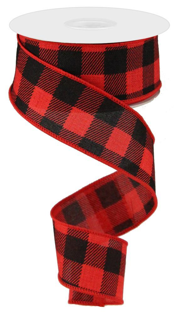 "1.5""x10yd Striped on Check - Red/Black"