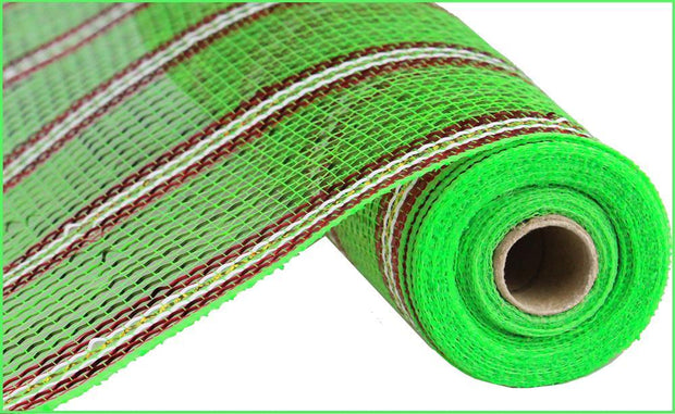 "10.5""x10yd Poly/Laser Foil Mesh - Lime/Red/White"