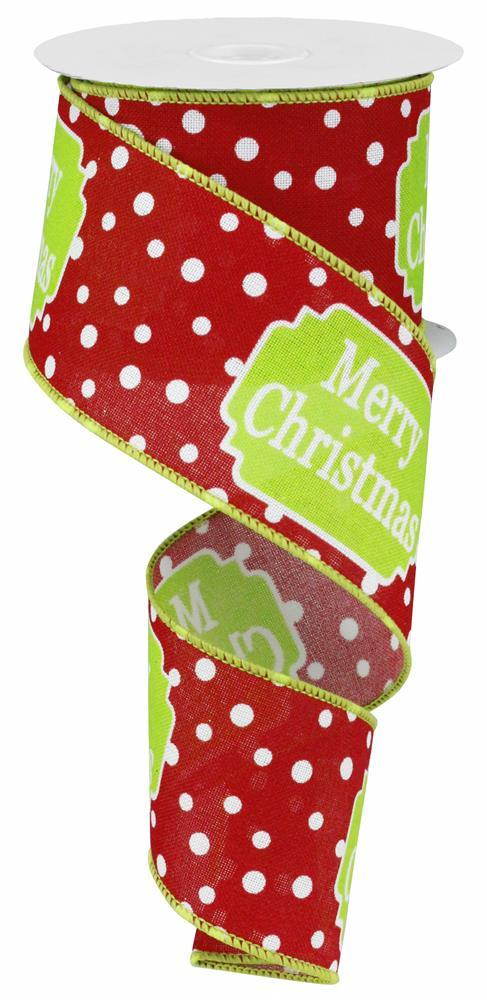 "2.5""x10yd Merry Christmas w/dots - Red/White/Lime"