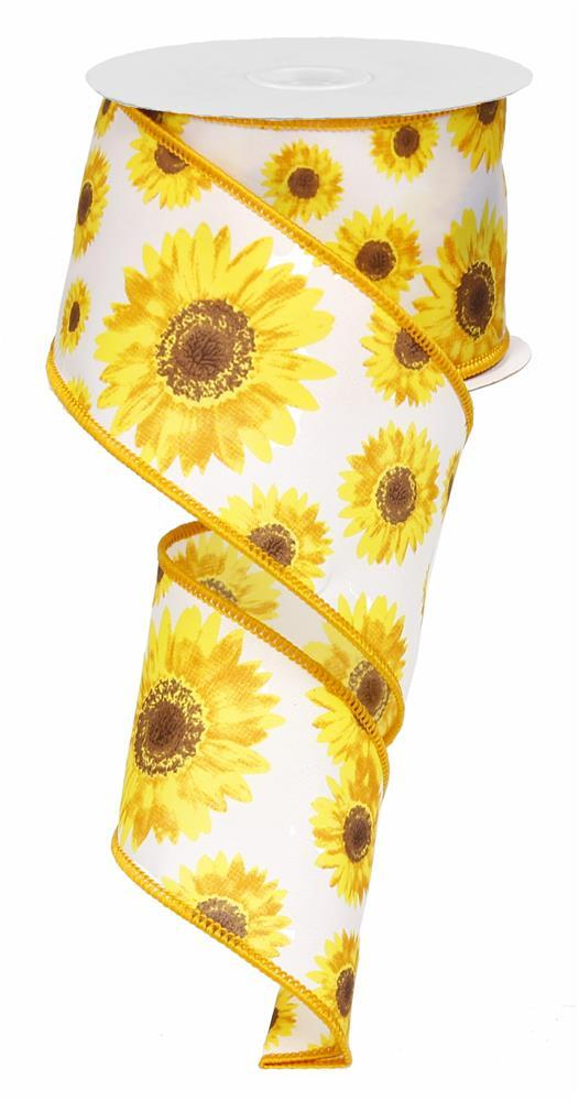 2.5in x 10yd - White Yellow Brown Sunflower Ribbon