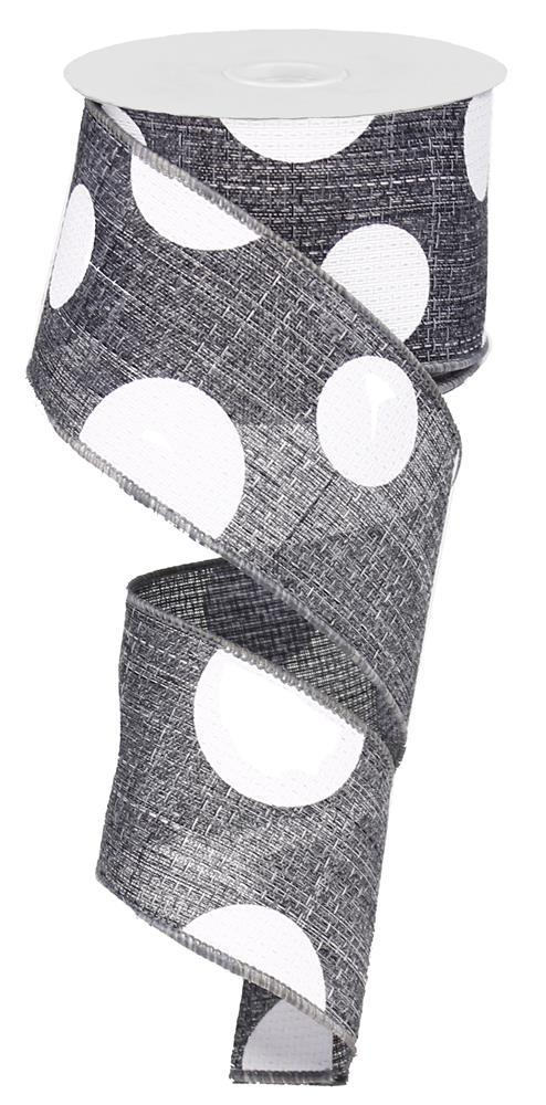 2.5in x 10yd - Giant Dots Ribbon - Grey/White