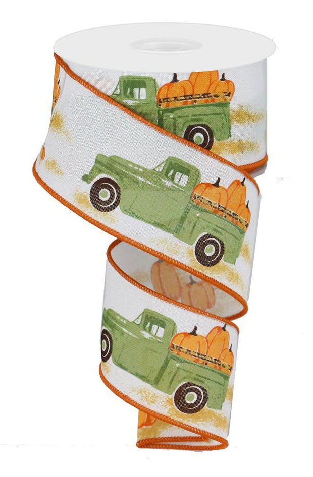 2.5in x 10yd - White Moss Orange Truck w/Pumpkins Ribbon