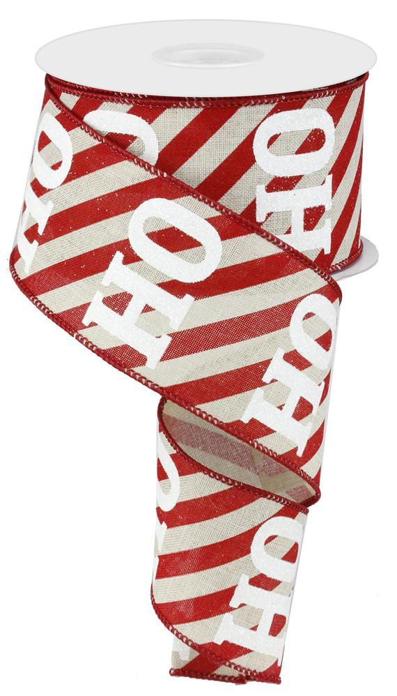 2.5in x 10yd - Natural Red Diagonal Stripes HoHoHo Ribbon