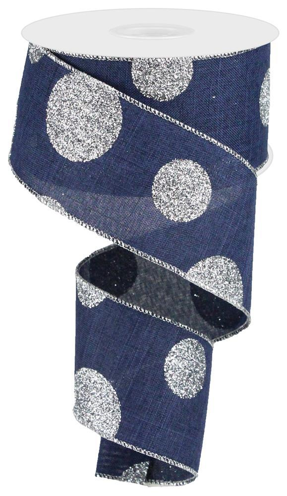"2.5""x10yd Glittered Multi Dots - Navy/Silver"
