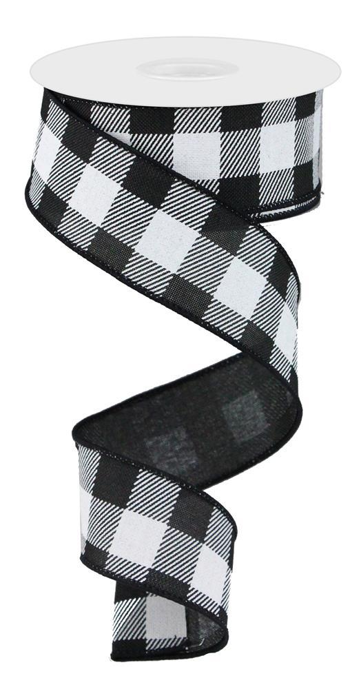 1.5in. x 10yd Black White Striped Check On Royal
