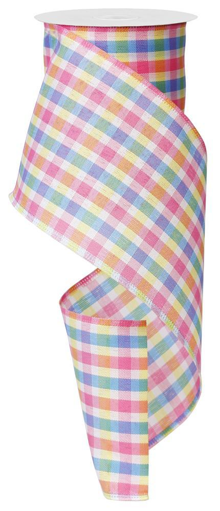 4in x 10yd - Pink Blue Yellow White Plaid Ribbon