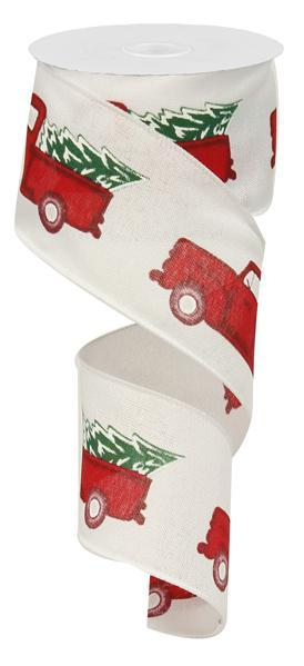2.5in x 10yd - White Red Emerald Vintage Christmas Truck/w tree Ribbon