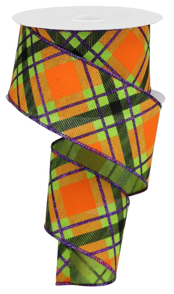 "2.5""x10yd Glitter Plaid on Royal - Lime/Purple/Orange"