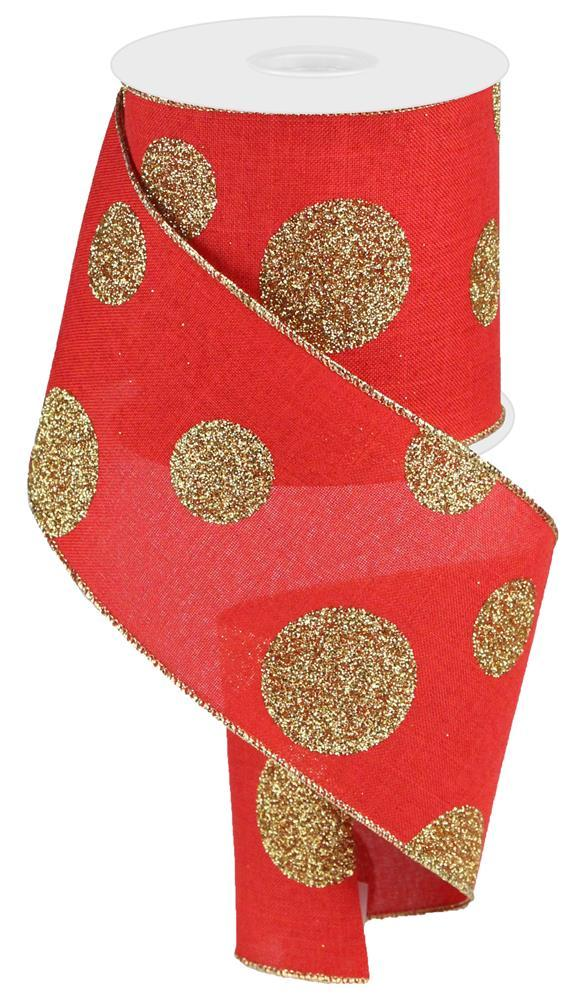 "4""x10yd Glittered Multi Dots - Red/Gold"