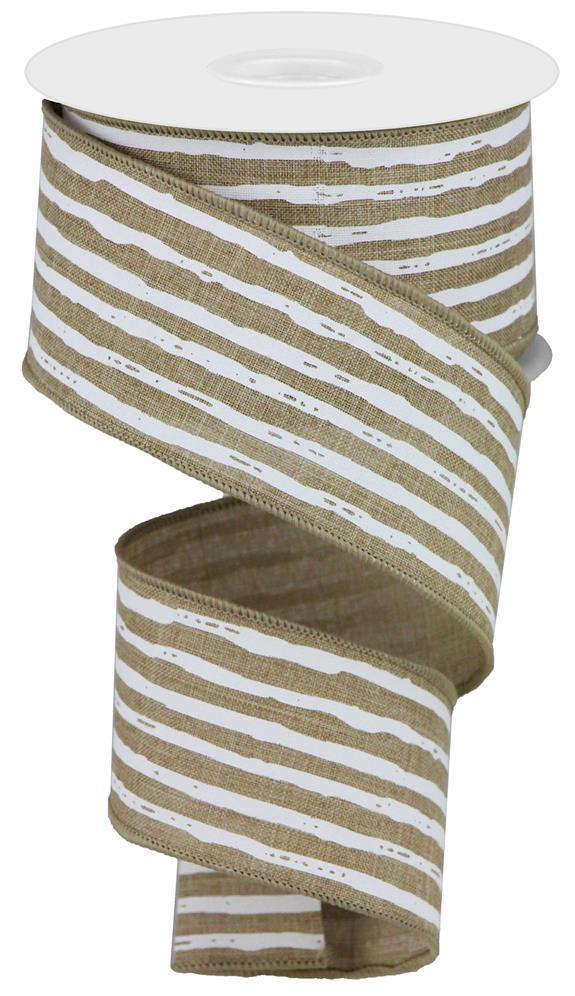 "2.5""X10yd Light Beige White Irregular Stripes On Royal"