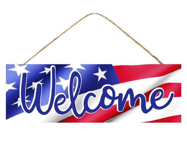 "15""-White Red Blue-Welcome Flag Sign"