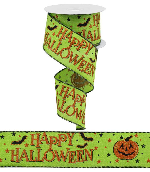 "2.5""x10yd Happy Halloween - Lime/Orange/Black"