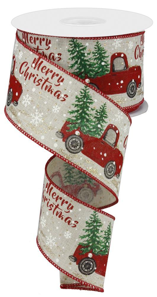 "2.5""x10yd Merry Christmas Truck w/Tree - Natural/Red/Green"