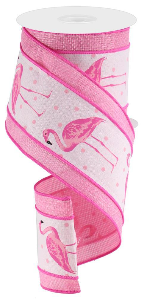 4in x 10yd - Pink White Flamingos Royal Cross Ribbon