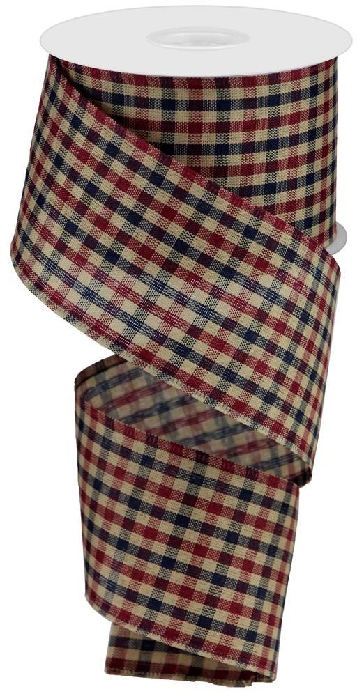 2.5x10 Primitive Gingham Check - Navy/Burgundy/Tan Gingham