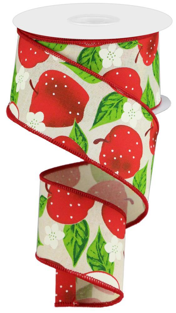 2.5in x 10yd - Apples on Royal - Cream/Red/Green