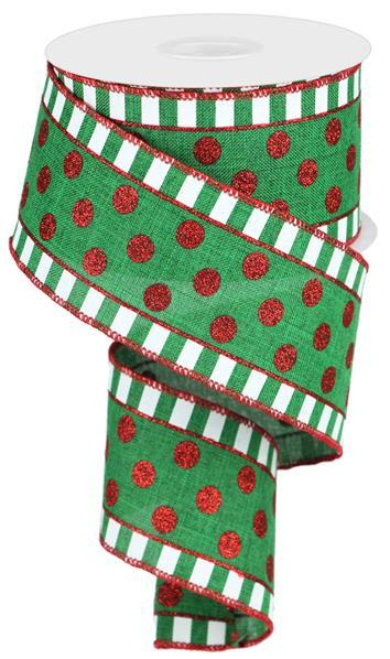 2.5in x 10yd - Emerald Red Glitter Stripes Dots Ribbon
