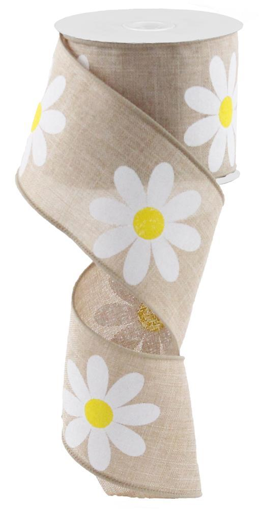 2.5in x 10yd - Tan Yellow White Daisy Bold Royal Ribbon