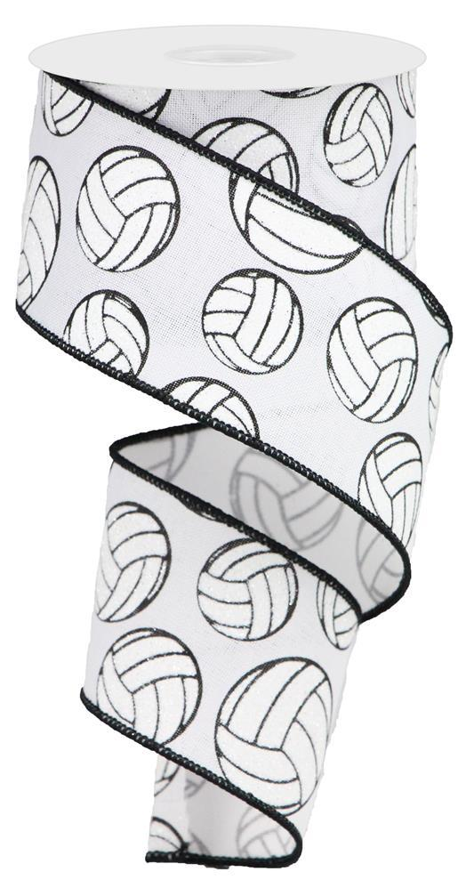 "2.5""x10yd Glitter Volleyball - White/Black"