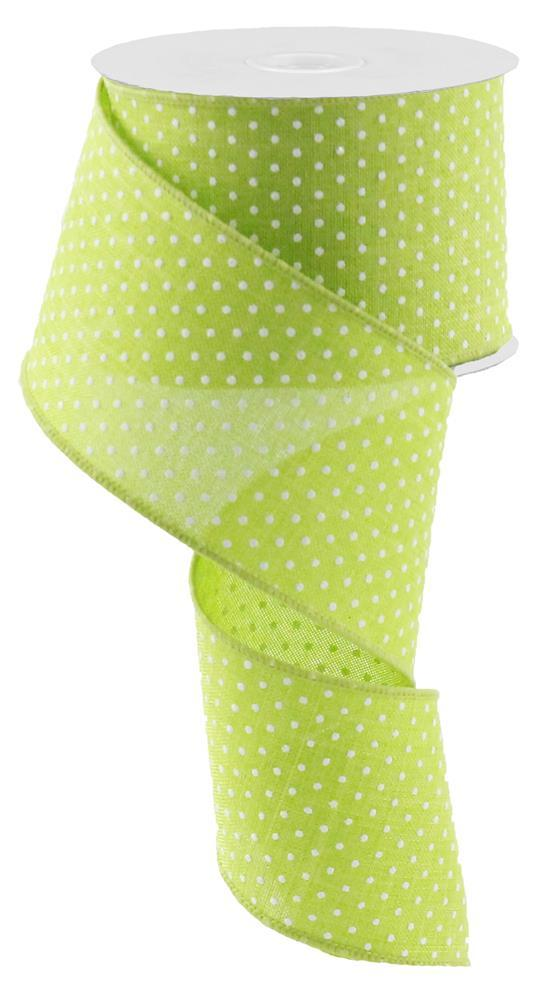 2.5in x 10yd - Lime White Raised Swiss Dots Ribbon
