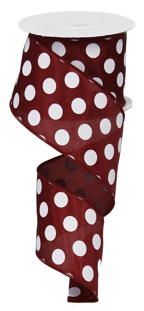 "2.5""x10yd Medium Dots - Maroon/White"