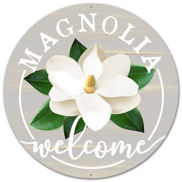 "12"" Metal Magnolia Welcome - White/Grey/Green"