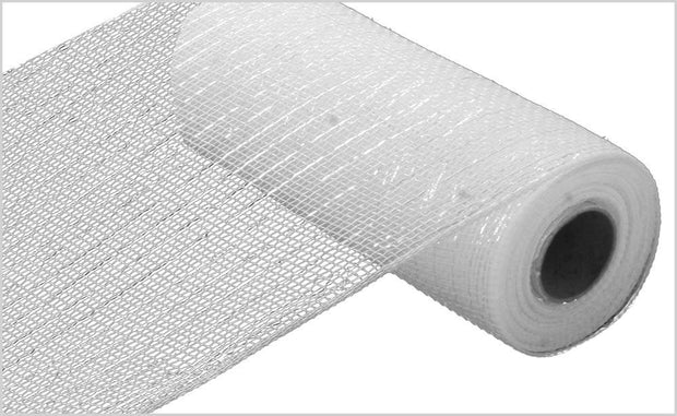 "10""x10""yd Metallic White Mesh"