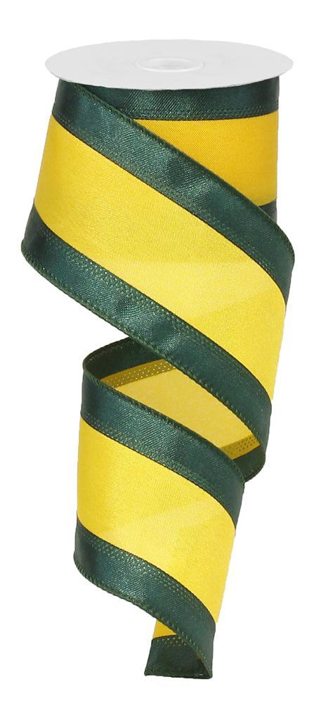 "2.5""x10yd Satin Ribbon - Hunter/Gold"