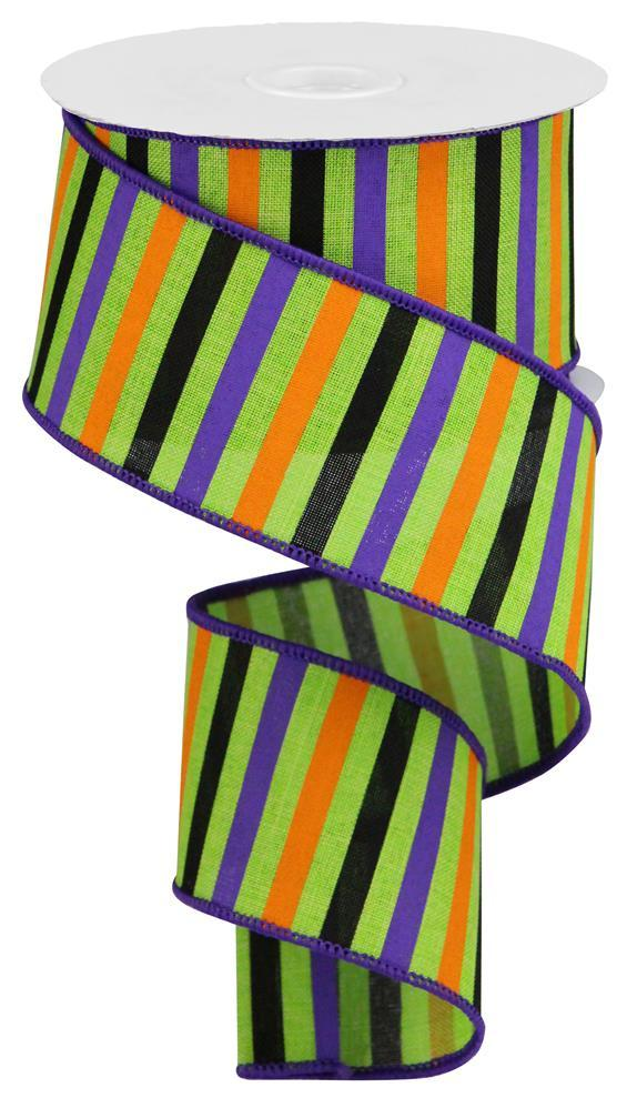 "2.5""x10yd Horizontal Stripes - Lime/Orange/Purple/Black"