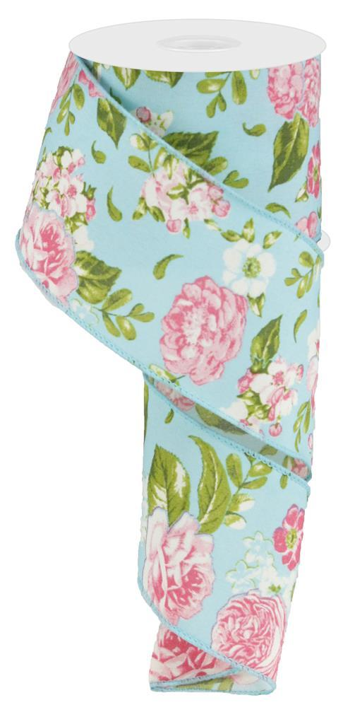 2.5in x 10yd - Rose Green Blue Floral Ribbon