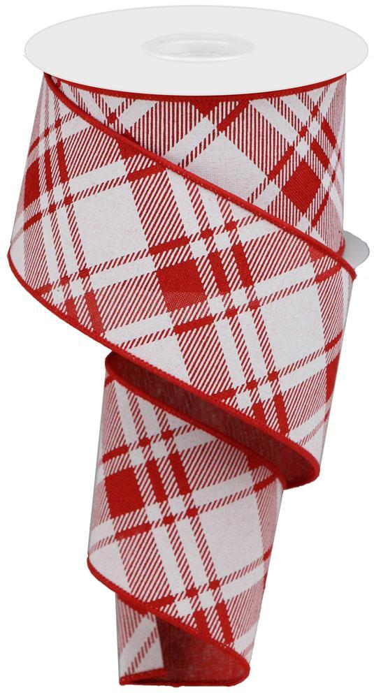 "2.5""x10yd Diagonal Stripe on Royal - Red/White"
