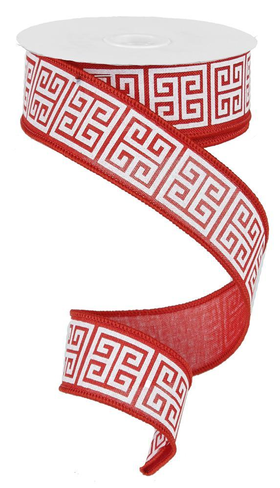 1.5in x 10yd - Red White Greek Keys Ribbon